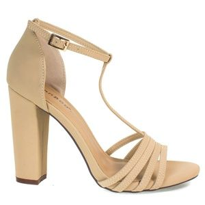 BAMBOO Nude Heel with Strap Size 9